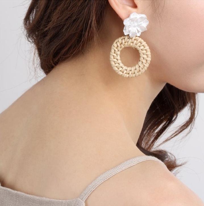 Floral Straw Earrings