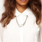 Stud Collar Brooch With Chain