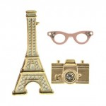 Multipack Eiffel Tower Camera Brooch