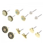Metallic Stud Earrings Set