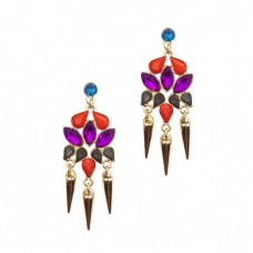 Multicolor Gemstone Drop Earrings