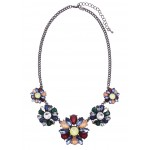 Stone Cluster Floral Necklace