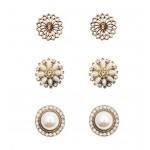 3 x Floral Pearl Stud Set