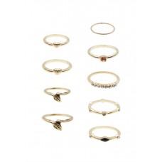 9 x Leaf & Rhinestone Ring Set