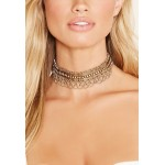 Burnished Etched Chain Choker