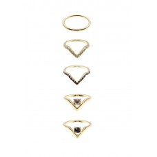 5 x Geo Rhinestone Ring Set