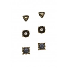 3 x Etched Stone Earrings Set