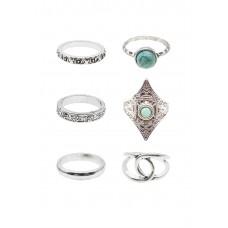 6 x Howlite Stone Rings