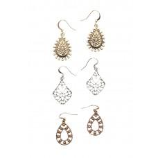 3 x Bavna Etched Earrings Set
