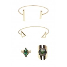4 x Geometric Cuff Bracelet & Rings Set