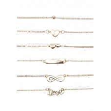 6 x Love Charm Bracelet Set
