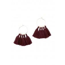 Burgundy Hoop and Tassel Earring