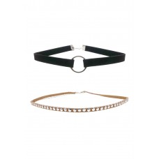Ring & Studded Suedette Choker