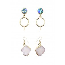 2 x Abalone Shell and Stone Earrings Set