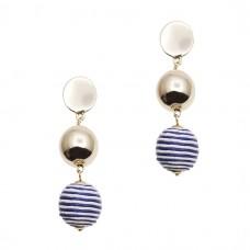 Threaded Pom Pom Earrings
