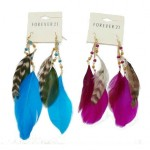 Tri-Color Feather Earrings