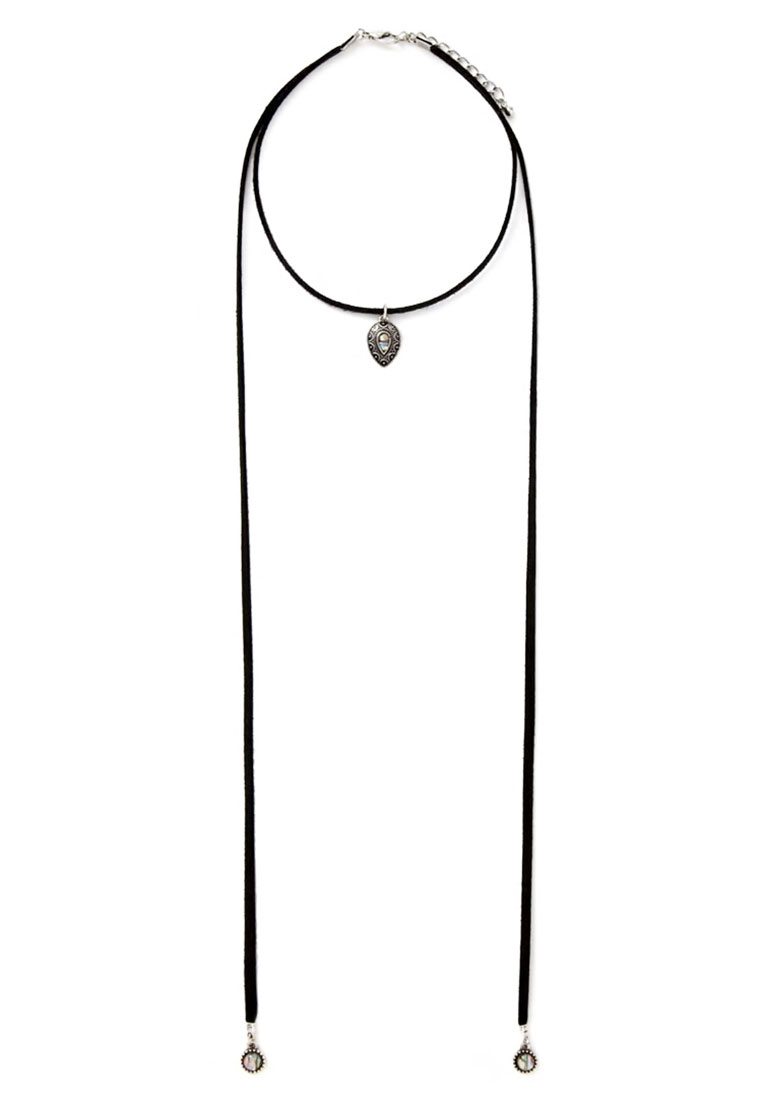 Iridescent Stone Suede Bolo Necklace