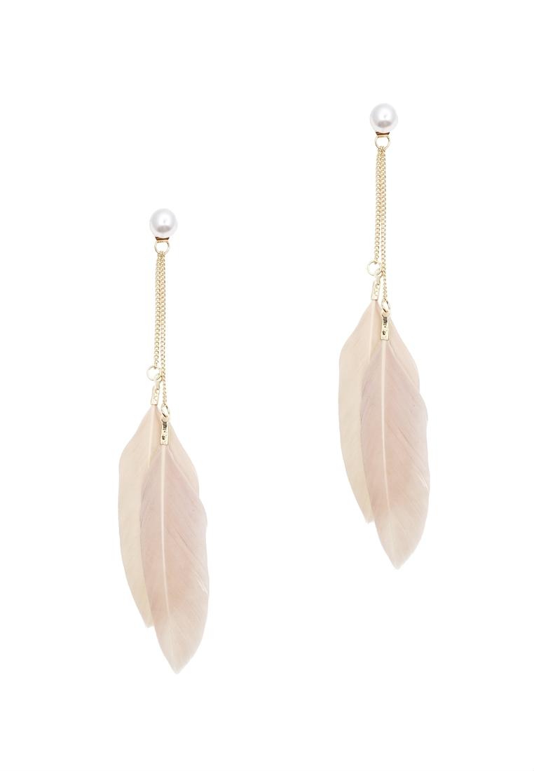 Double Feather Drop Earrings