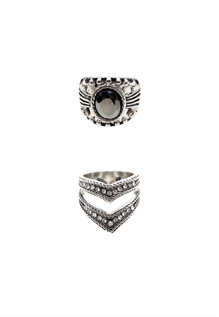 2 x Etched Stone Ring Set