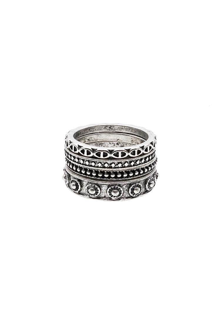 4 x Etched Geometric Ring Set