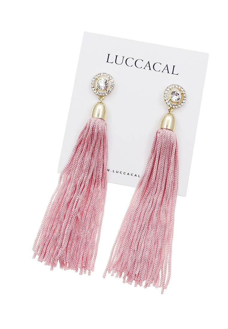 Shayna Pink Tassel Earrings