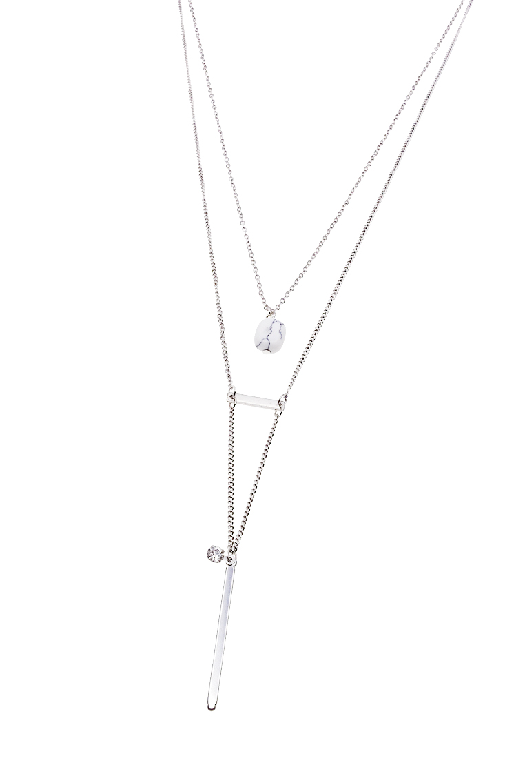 Layered Stone & Bar Necklace