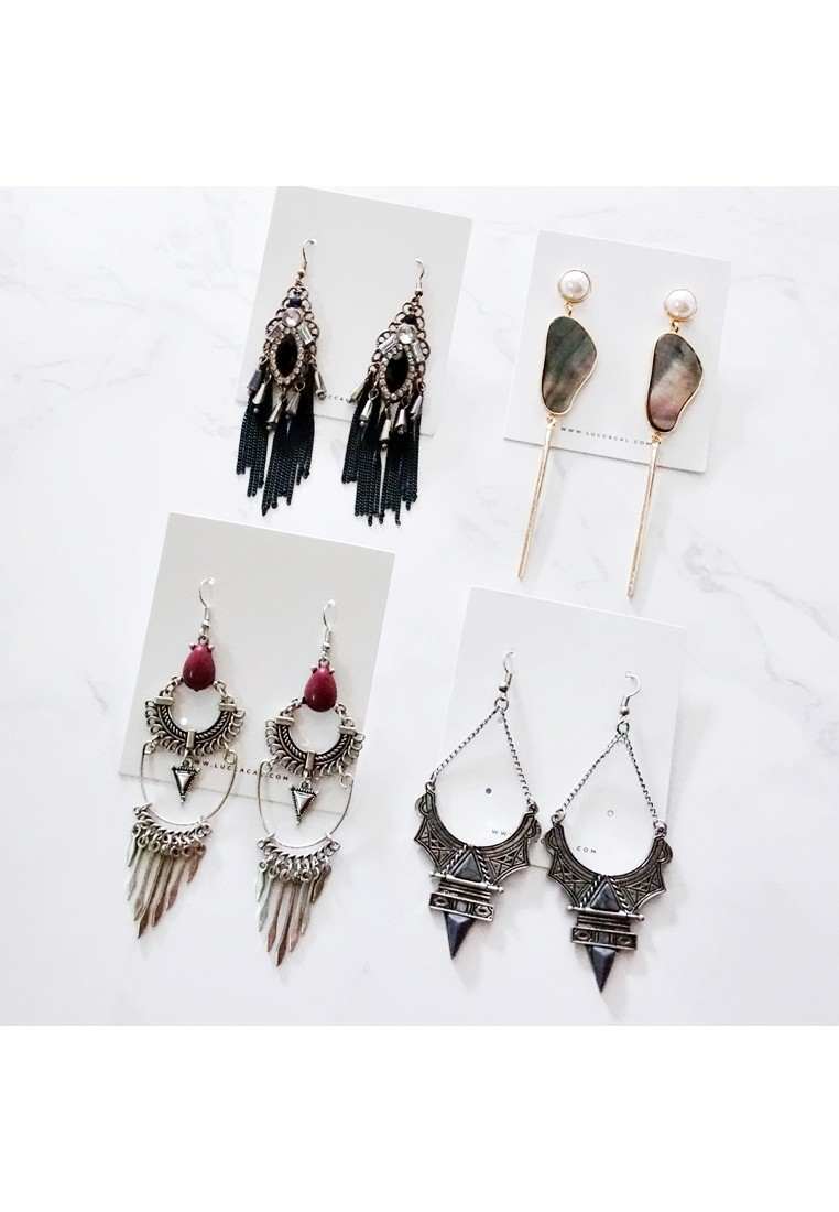Black Shell Drop Earrings