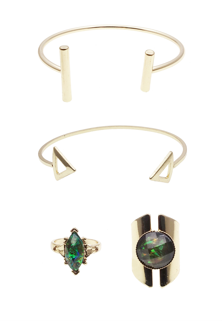 4 x Geometric Cuff Bracelet & Rings Set