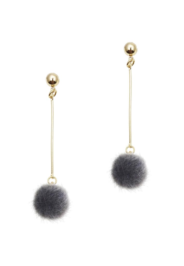 Furry Pom Pom Earrings