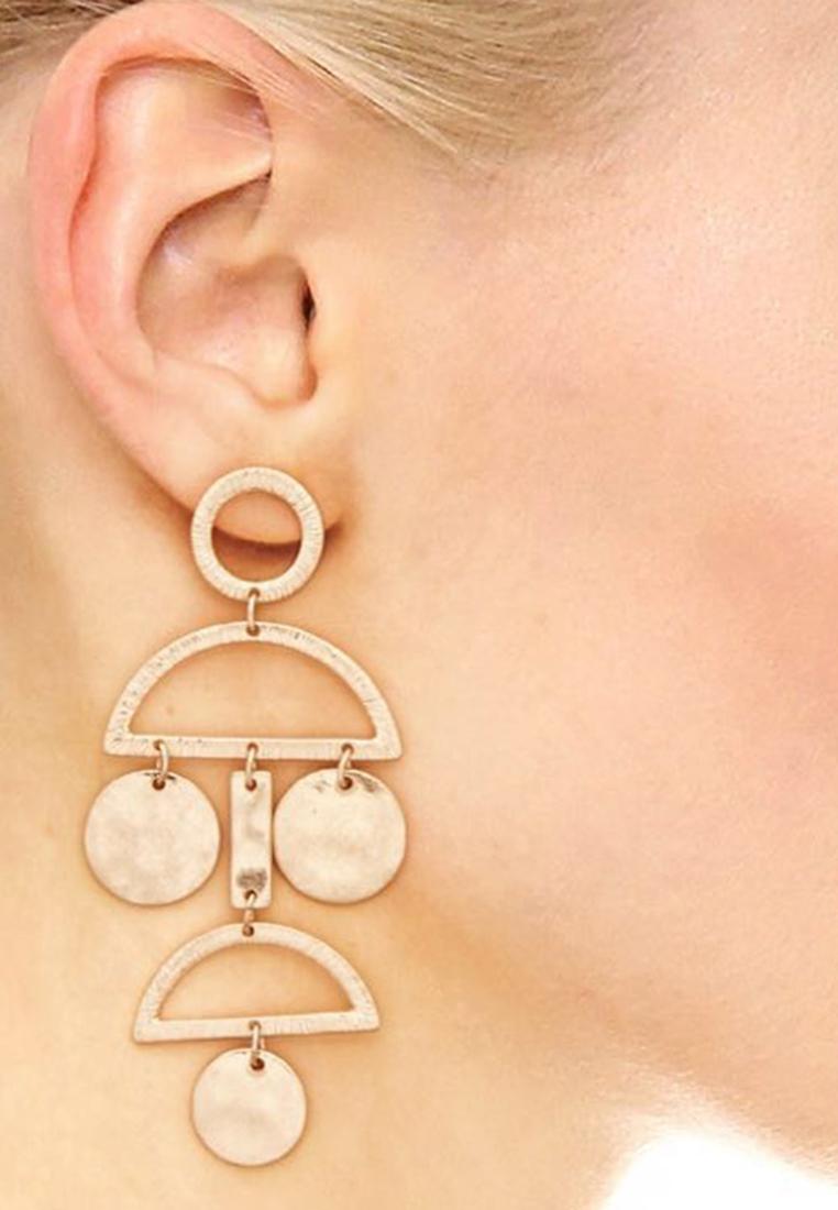 Geo Hammered Drop Earrings
