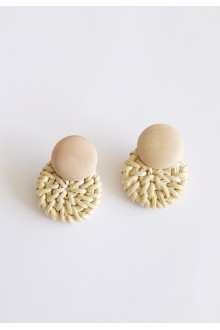 Mini Straw Wood Earrings