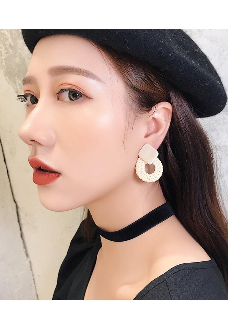 Straw Resin Earrings