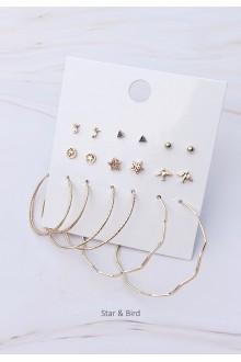 Mixed Stud and Hoop Earrings Set