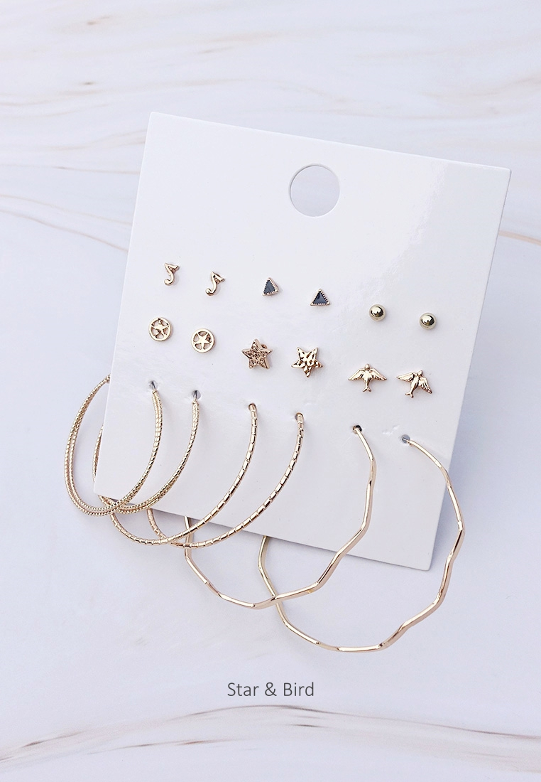 Mixed Plate Stud and Hoop Earrings Set