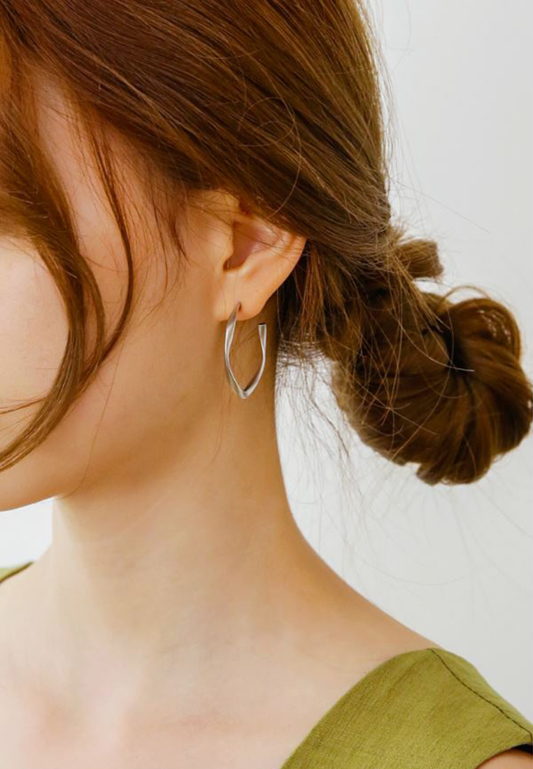 Twist Hoop Earrings (S925 Post)