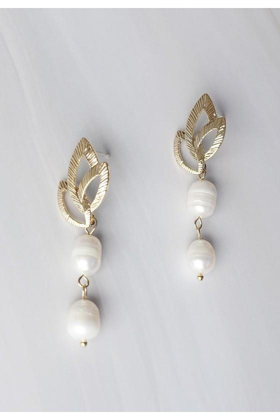 Leaf Baroque Pearl Earrings