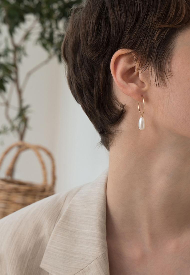 Akoya Baroque Pearl Hoop Earrings