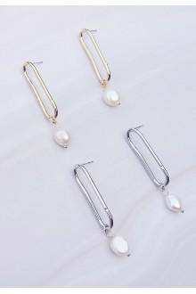 Penney Dangling Pearl Hoop Earrings