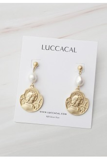 Ancient Coin & Pearl Drop Earrings
