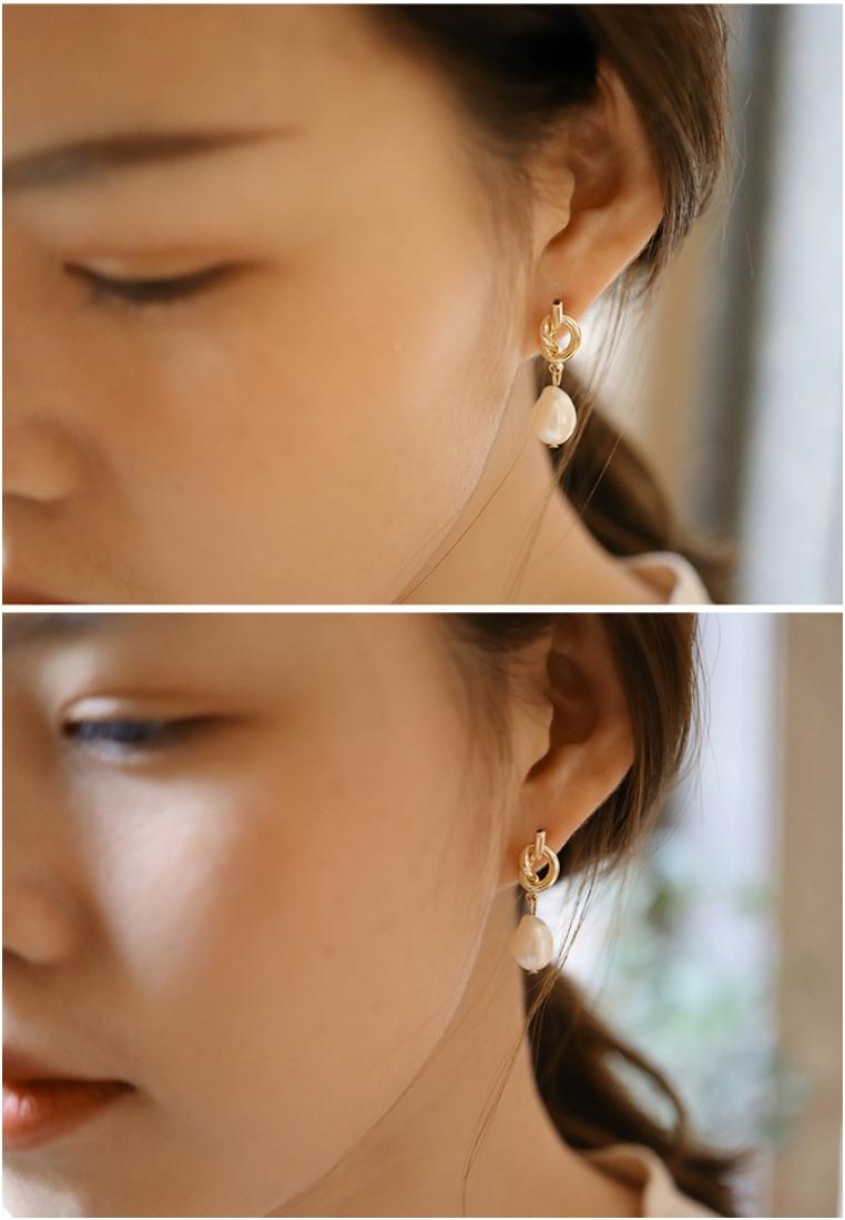 Freshwater Pearls Love Knot Pearl Drop Earrings