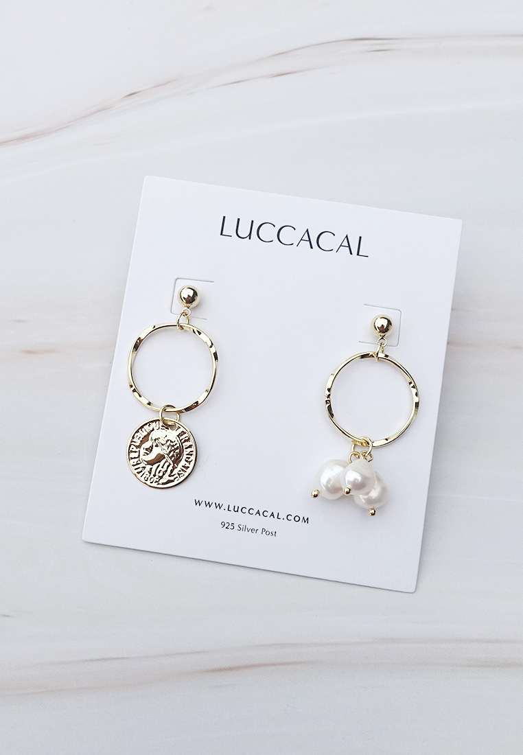 Mismatched Coin & Pearl Earrings