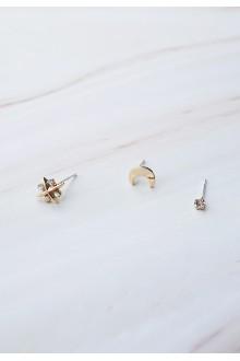 3 x Crystal Star Stud Earrings