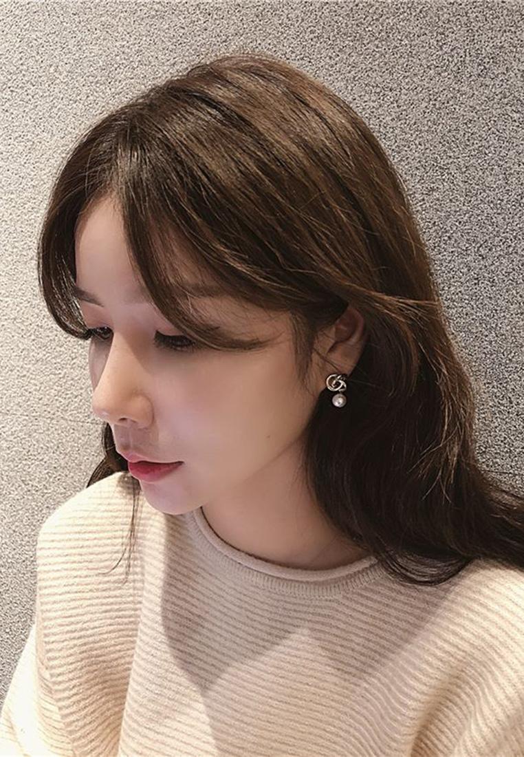 Interlocked Hoop Pearl Earrings