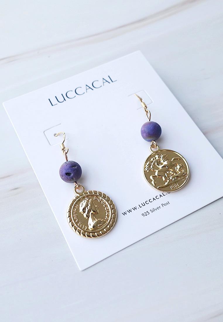 Quartz Bead Coin Earrings