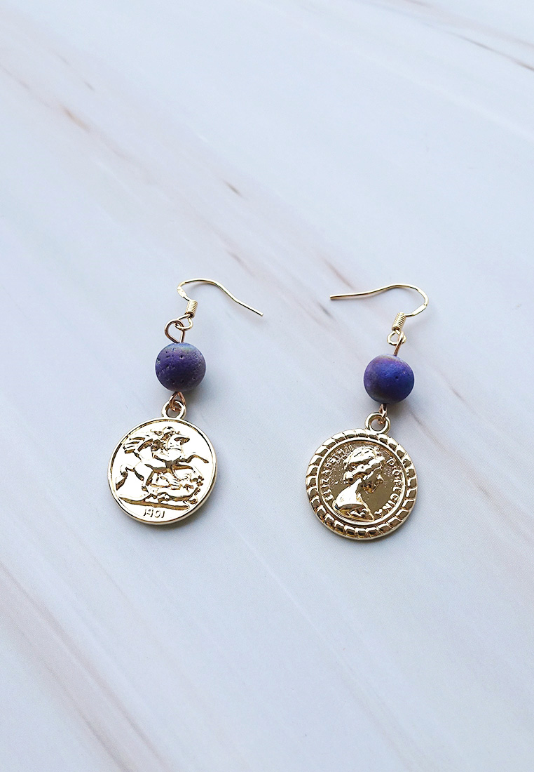 Quartz Bead Coin Earrings