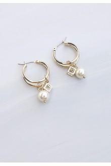 Huggie Pearl Hoop Earrings