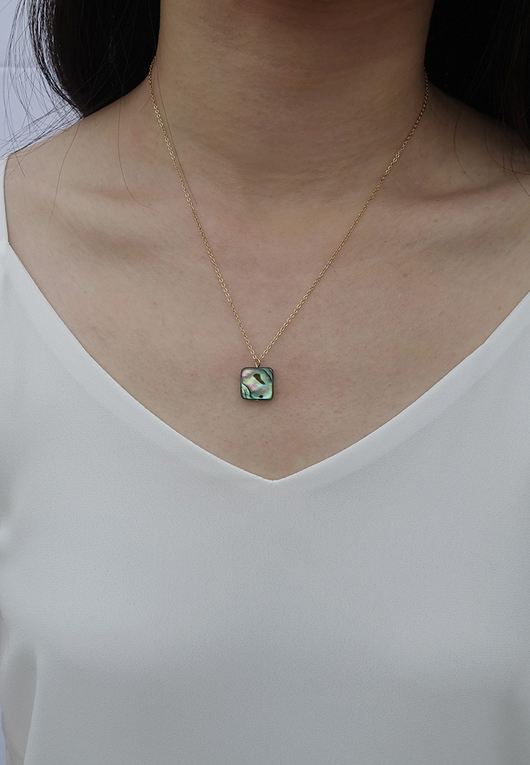 Square Abalone Shell Necklace