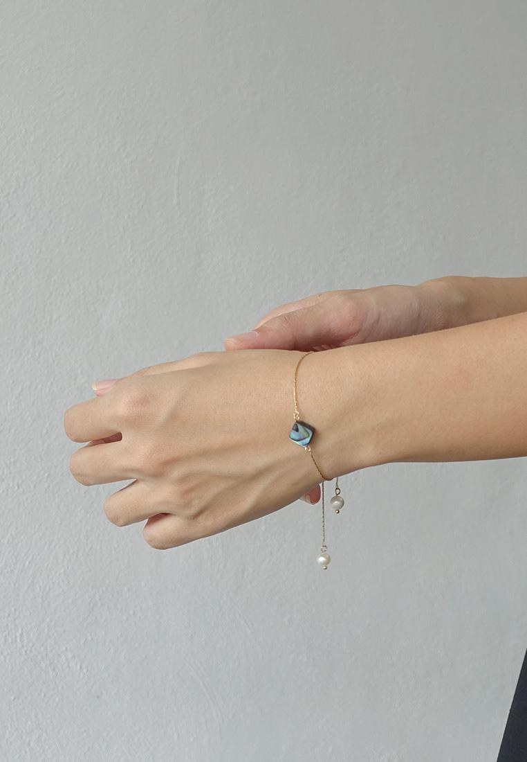 Abalone Shell Pearl Slider Bracelet