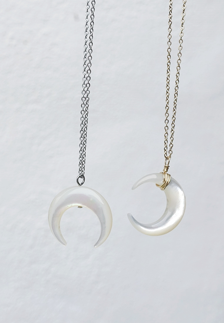 Mother Of Pearl Moon Necklace
