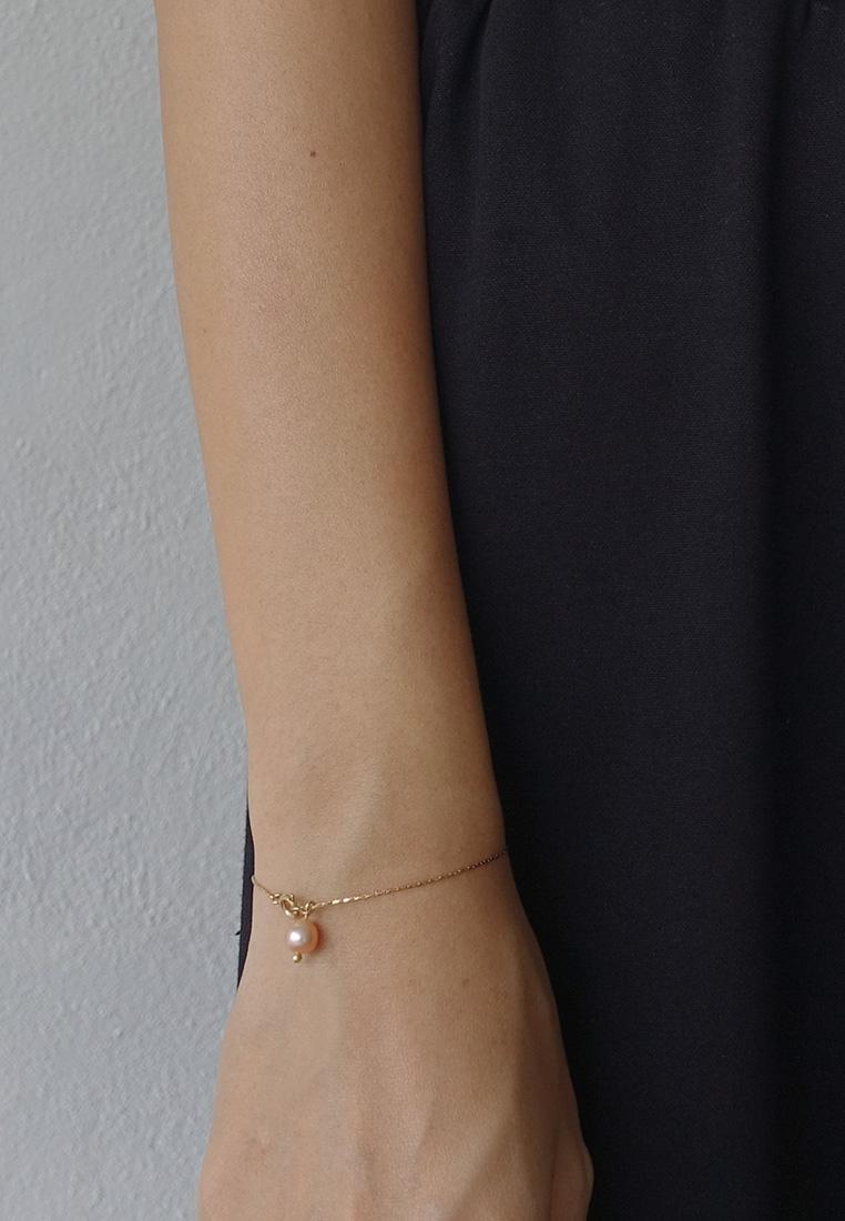 Dainty Pearl Pendant Slider Bracelet